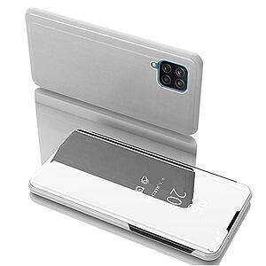 Θήκη Samsung Galaxy A12 OEM Mirror Surface Series Flip Window δερματίνη ασημί