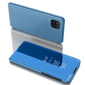 Θήκη Samsung Galaxy A12 OEM Mirror Surface Series Flip Window δερματίνη γαλάζιο