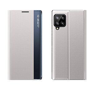 Θήκη Samsung Galaxy A12 OEM Half Mirror Active Smart View Stand Cover με μαγνητικό κούμπωμα από συνθετικό δέρμα γκρι