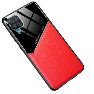 Θήκη Samsung Galaxy A12 OEM Magnetic Glass Series πλάτη με ενσωματωμένο μαγνήτη και υποστήριξη μαγνητικής βάσης από συνθετικό δέρμα TPU κόκκινο