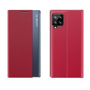 Θήκη Samsung Galaxy A12 OEM Half Mirror Active Smart View Stand Cover με μαγνητικό κούμπωμα από συνθετικό δέρμα κόκκινο