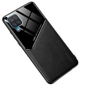 Θήκη Samsung Galaxy A12 OEM Magnetic Glass Series πλάτη με ενσωματωμένο μαγνήτη και υποστήριξη μαγνητικής βάσης από συνθετικό δέρμα TPU μαύρο