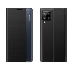 Θήκη Samsung Galaxy A12 OEM Half Mirror Active Smart View Stand Cover με μαγνητικό κούμπωμα από συνθετικό δέρμα μαύρο