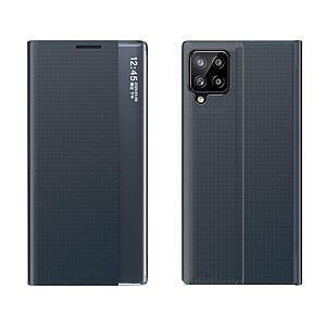 Θήκη Samsung Galaxy A12 OEM Half Mirror Active Smart View Stand Cover με μαγνητικό κούμπωμα από συνθετικό δέρμα μπλε