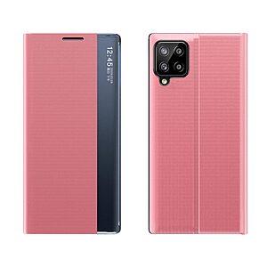 Θήκη Samsung Galaxy A12 OEM Half Mirror Active Smart View Stand Cover με μαγνητικό κούμπωμα από συνθετικό δέρμα ροζ
