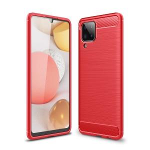 Θήκη Samsung Galaxy A12 OEM Brushed TPU Carbon Πλάτη κόκκινο ανοιχτό