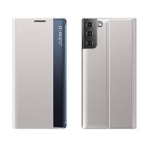 Θήκη Samsung Galaxy S21 OEM Half Mirror Active Smart View Stand Cover με μαγνητικό κούμπωμα από συνθετικό δέρμα γκρι