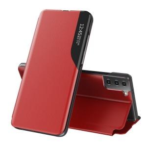 Θήκη Samsung Galaxy S21 OEM Half Mirror Time View Stand Cover με μαγνητικό κούμπωμα από συνθετικό δέρμα κόκκινο