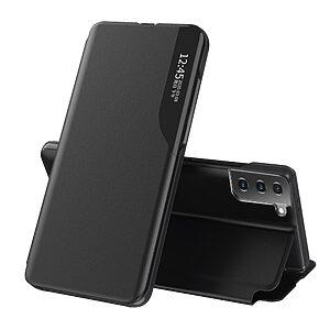 Θήκη Samsung Galaxy S21 OEM Half Mirror Time View Stand Cover με μαγνητικό κούμπωμα από συνθετικό δέρμα μαύρο