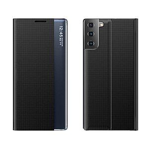 Θήκη Samsung Galaxy S21 OEM Half Mirror Active Smart View Stand Cover με μαγνητικό κούμπωμα από συνθετικό δέρμα μαύρο