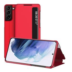 Θήκη Samsung Galaxy S21 Plus OEM Half Mirror Surface View Stand Case Cover Flip Window από συνθετικό δέρμα κόκκινο