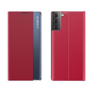 Θήκη Samsung Galaxy S21 Plus OEM Half Mirror Active Smart View Stand Cover με μαγνητικό κούμπωμα από συνθετικό δέρμα κόκκινο