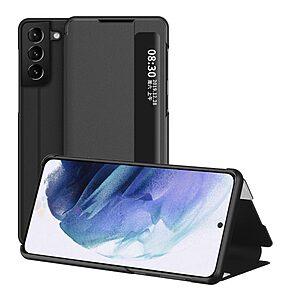 Θήκη Samsung Galaxy S21 Plus OEM Half Mirror Surface View Stand Case Cover Flip Window από συνθετικό δέρμα μαύρο