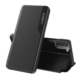 Θήκη Samsung Galaxy S21 Plus OEM Half Mirror Time View Stand Cover με μαγνητικό κούμπωμα από συνθετικό δέρμα μαύρο