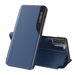 Θήκη Samsung Galaxy S21 Plus OEM Half Mirror Time View Stand Cover με μαγνητικό κούμπωμα από συνθετικό δέρμα μπλε