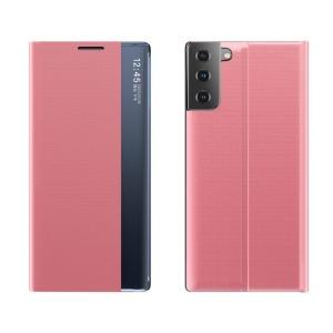 Θήκη Samsung Galaxy S21 Plus OEM Half Mirror Active Smart View Stand Cover με μαγνητικό κούμπωμα από συνθετικό δέρμα ροζ
