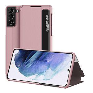 Θήκη Samsung Galaxy S21 Plus OEM Half Mirror Surface View Stand Case Cover Flip Window από συνθετικό δέρμα ροζ χρυσό