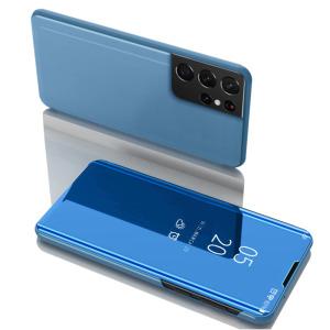 Θήκη Samsung Galaxy S21 Ultra OEM Mirror Surface Series Flip Window δερματίνη γαλάζιο