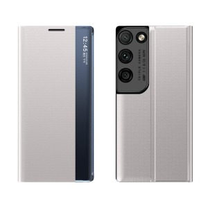 Θήκη Samsung Galaxy S21 Ultra OEM Half Mirror Active Smart View Stand Cover με μαγνητικό κούμπωμα από συνθετικό δέρμα γκρι