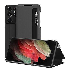 Θήκη Samsung Galaxy S21 Ultra OEM Half Mirror Surface View Stand Case Cover Flip Window από συνθετικό δέρμα μαύρο