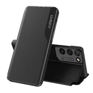 Θήκη Samsung Galaxy S21 Ultra OEM Half Mirror Time View Stand Cover με μαγνητικό κούμπωμα από συνθετικό δέρμα μαύρο