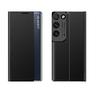 Θήκη Samsung Galaxy S21 Ultra OEM Half Mirror Active Smart View Stand Cover με μαγνητικό κούμπωμα από συνθετικό δέρμα μαύρο