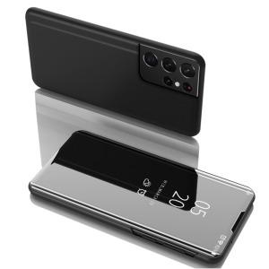 Θήκη Samsung Galaxy S21 Ultra OEM Mirror Surface Series Flip Window δερματίνη μαύρο