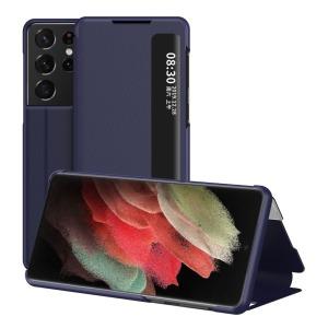 Θήκη Samsung Galaxy S21 Ultra OEM Half Mirror Surface View Stand Case Cover Flip Window από συνθετικό δέρμα μπλε