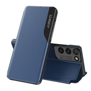Θήκη Samsung Galaxy S21 Ultra OEM Half Mirror Time View Stand Cover με μαγνητικό κούμπωμα από συνθετικό δέρμα μπλε