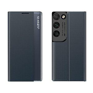 Θήκη Samsung Galaxy S21 Ultra OEM Half Mirror Active Smart View Stand Cover με μαγνητικό κούμπωμα από συνθετικό δέρμα μπλε