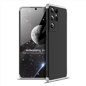 Θήκη GKK Full body Protection 360° από σκληρό πλαστικό για Samsung Galaxy S21 Ultra μαύρο / ασημί