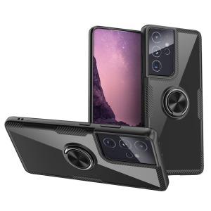 Θήκη Samsung Galaxy S21 Ultra OEM Transparent Magnetic Ring Kickstand v5 / Μαγνητικό δαχτυλίδι / Βάση στήριξης TPU μαύρο