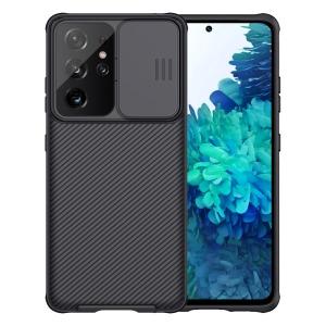 Θήκη Samsung Galaxy S21 Ultra NiLLkin Camshield Series Πλάτη με προστασία για την κάμερα από σκλήρό Premium TPU μαύρο