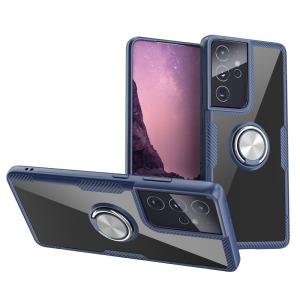 Θήκη Samsung Galaxy S21 Ultra OEM Transparent Magnetic Ring Kickstand v5 / Μαγνητικό δαχτυλίδι / Βάση στήριξης TPU μπλε / ασημί