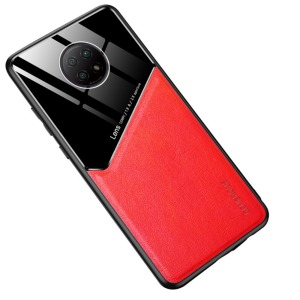 Θήκη Xiaomi Redmi Note 9T OEM Magnetic Glass Series πλάτη με ενσωματωμένο μαγνήτη και υποστήριξη μαγνητικής βάσης από συνθετικό δέρμα TPU κόκκινο