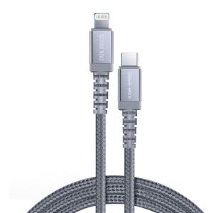 Dux Ducis Space MFI Καλώδιο Durable Nylon Braided Wire USB Type C PD 18W / Lightning 1m 3A γκρι