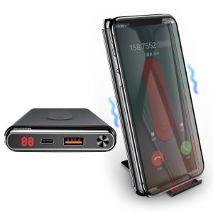 Baseus Ασύρματη Φόρτιση Qi Power Bank 10000 mAh 15W USB Type-C PD + Quick Charge 3.0 QC 3.0 Ports μαύρο (WXHSD-D01)