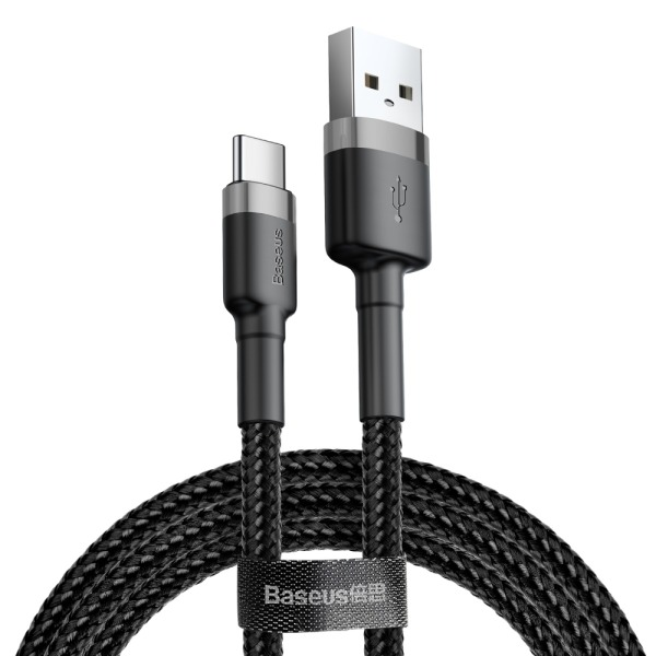 Baseus Cafule Braided USB 2.0 Cable USB-C male - USB-A male Μαύρο 2m (CATKLF-CG1)