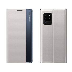 Θήκη Samsung Galaxy A32 5G OEM Half Mirror Active Smart View Stand Cover με μαγνητικό κούμπωμα από συνθετικό δέρμα ασημί