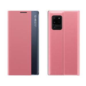Θήκη Samsung Galaxy A32 5G OEM Half Mirror Active Smart View Stand Cover με μαγνητικό κούμπωμα από συνθετικό δέρμα ροζ