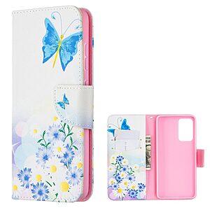 Θήκη Samsung Galaxy A52 4G / 5G OEM Blue Butterfly & Flowers με βάση στήριξης
