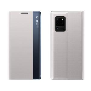 Θήκη Samsung Galaxy A52 4G / 5G OEM Half Mirror Active Smart View Stand Cover με μαγνητικό κούμπωμα από συνθετικό δέρμα γκρι