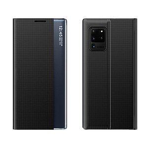 Θήκη Samsung Galaxy A52 4G / 5G OEM Half Mirror Active Smart View Stand Cover με μαγνητικό κούμπωμα από συνθετικό δέρμα μαύρο