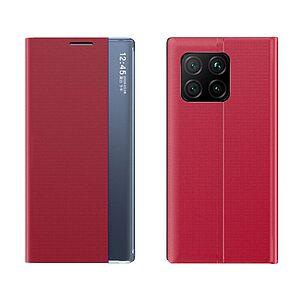 Θήκη Xiaomi Mi 11 OEM Half Mirror Active Smart View Stand Cover με μαγνητικό κούμπωμα από συνθετικό δέρμα κόκκινο