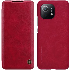 Θήκη Xiaomi Mi 11 NiLLkin Qin Series με υποδοχή για κάρτες Flip Wallet από σκληρό πλαστικό και συνθετικό δέρμα κόκκινο
