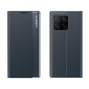 Θήκη Xiaomi Mi 11 OEM Half Mirror Active Smart View Stand Cover με μαγνητικό κούμπωμα από συνθετικό δέρμα μπλε