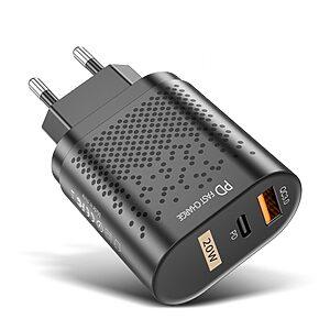 Επιτοίχιος φορτιστής USLION QC 3.0 Fast Charging PD USB-A+ και Type-C - 20W