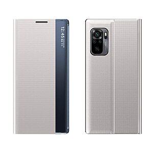 Θήκη Xiaomi Redmi Note 10 / 10S OEM Half Mirror Active Smart View Stand Cover με μαγνητικό κούμπωμα από συνθετικό δέρμα γκρι