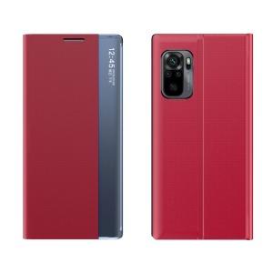 Θήκη Xiaomi Redmi Note 10 / 10S OEM Half Mirror Active Smart View Stand Cover με μαγνητικό κούμπωμα από συνθετικό δέρμα κόκκινο