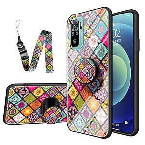 Θήκη Xiaomi Redmi Note 10 OEM Colorful Flower Print Glass Hybrid Phone Case Protector with Lanyar 1